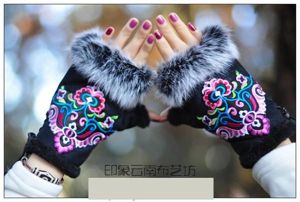 2018 Guantes de invierno estilo étnico mujeres bordado guantes de piel de conejo medio dedo mitones calientes mujeres brazales mujeres D18110705