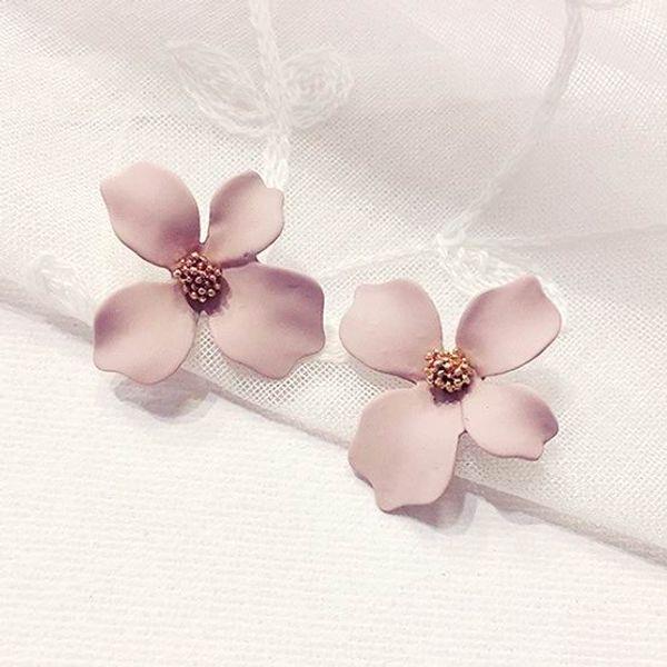 New Korean Style Spray Paint Big Flower Stud Earrings For Women Fashion Summer Accessories Elegant Sweet Brinco free shipping
