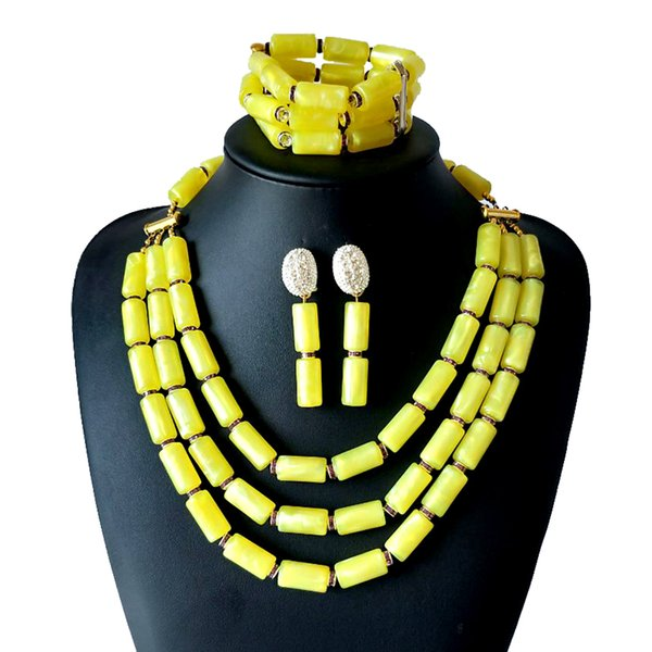 Wholesale Fashion African Beads Jewelry Sets Ethiopian Yellow Coral Beads Jewelry Set Nigerian Wedding Beads Bridal Necklace Jewelry Set