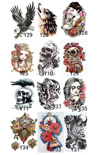 12 PCS = 12 dessins de transfert de tatouage imperméable autocollants de tatouage temporaire sur l'art du corps tatouages temporaires pour hommes femmes Tatuajes