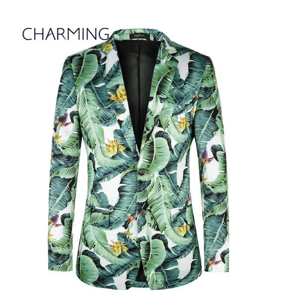 mens green suit Leaf pattern men's casual suit printing suit summer suits mens modern suits for men