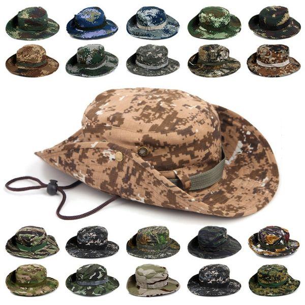 Esportes ao ar livre Chapéu de Pesca Camuflagem Bucket Hat Pescador Camo Jungle Bush Chapéus Boonie Proteção UV Ampla Brim Sun Caps Ripstop