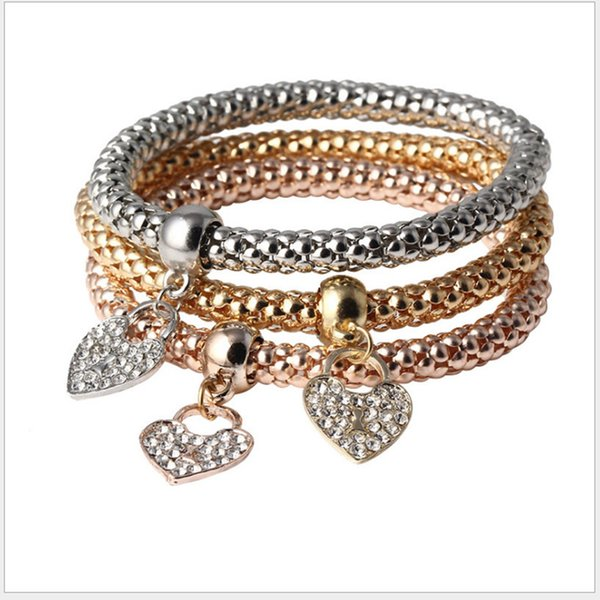 Fashionable 3 layers chain charm bracelet for women with crystal in mixed colors