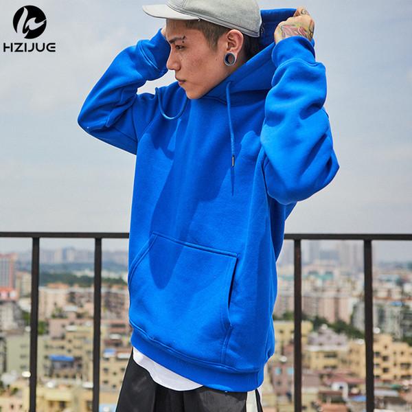 HZIJUE Marke Langarm-Sweatshirt Männer mit Kapuze blau casual USA Größe Sweatshirt Männer Hoodies Solid Pullover Kleidung Hip Hop