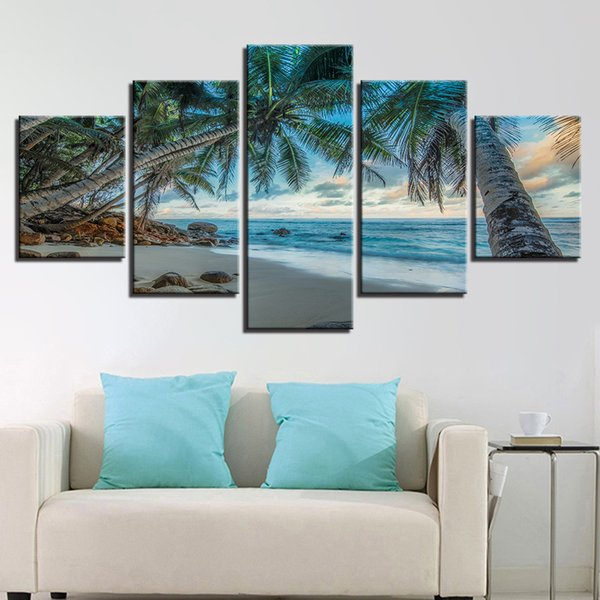 HD Printing Home Decor 5 Pieces Coconut Trees Beach Seascape Modular Canvas Pictures Painting Living Room Wall Art Poster Frame
