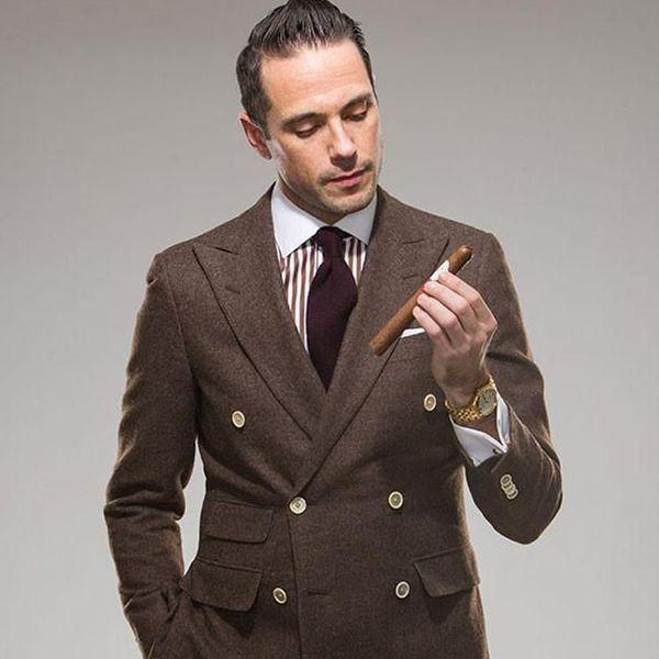 Traje de novio Tweed Trajes de boda para hombre Smoking Tuxedo Blazer Jacket Traje de baño doble Traje de tubo 2 piezas Terno Slim Fit
