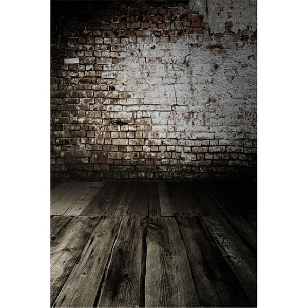 White Painted Old Brick Wall Wedding Photo Shoot Backdrops Printed Baby Newborn Photography Props Kids Children Studio Background Wood Floor