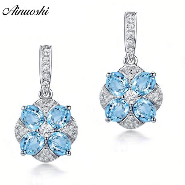AINUOSHI Natural Blue Topaz Drop Ohrring 2 Karat Edelsteine Push Zurück Silber Ohrring Trendy Blume Drop Geschenk für Frauen Schmuck