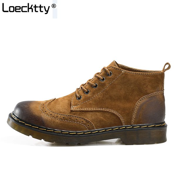 Men's Ankle Boots Fashion Spring / Autumn Footwear Genuine Leather Mens Shoes Lace Up Casual New Short Boot Brown Gray Green