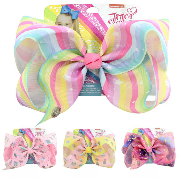 JoJo Bow With Hair Clip For Girls Kids Rainbow Oversized Handmade Ribbon Knot Bow Hair 6 Styles Children Hair Accessorices H988Q