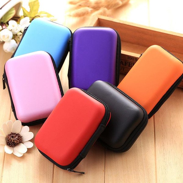 Colorful EVA Zipper Headphones Box Earphone Earbuds Hard Case Trinketry Storage Carrying Pouch Bag SD Card Hold Charms Box
