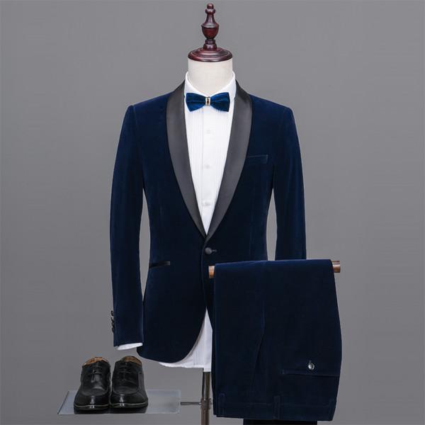Cool Dark Blue Groomsmen Shawl Lapel One Button (Jacket+Pants+Tie) Groom Tuxedos Groomsmen Best Man Suit Mens Wedding Suits Bridegroom