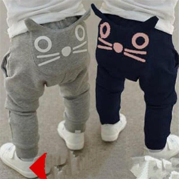 Baby Girls Boys Pants Little Cat Kitty Grey Black Spring Autumn Soft Trousers IL Bambino Gatto I pantaloni Ragazze Ragazzi 6M-3T