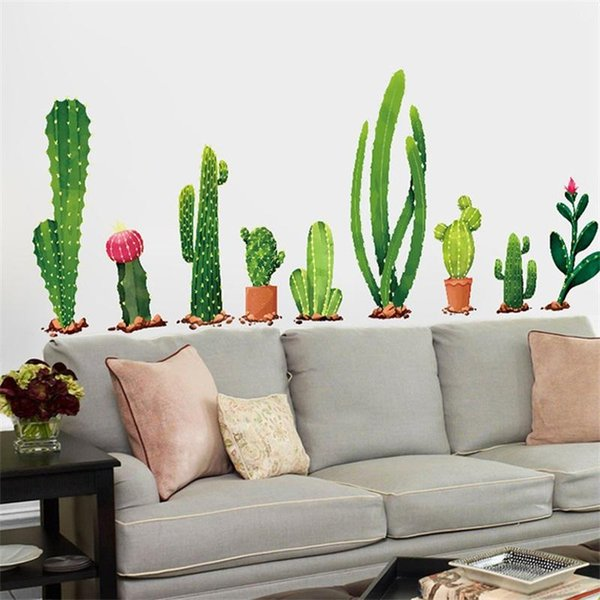 Originality Potted Plant Wall Sticker Cactus Bedroom Living Room Background Autohesion Decoration Mural Water Proof Wallpaper 3 5ss bb