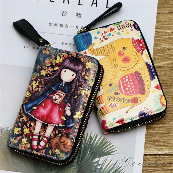 2018 Time-limited Bolsos Mujer Bolsas Feminina Organ Zipper Card Bag Key Painting Mini Zero Wallet Corea del Sur Lovely Bank Clip
