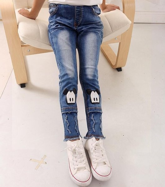 New Cartoon Pattern Kids Jeans Fashion Baby Girl Jeans Cute High Quality  Children Pants Handsome Casual Girls Jeans 4 10T Boys Skinny Black Jeans