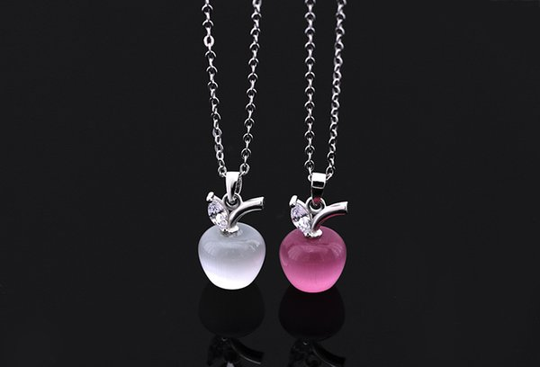 2018 Hot Sale New Original Crystal from Apple Necklace 925 Silver Cute Cat Eye Fashion Jewelry Fit Women and female
