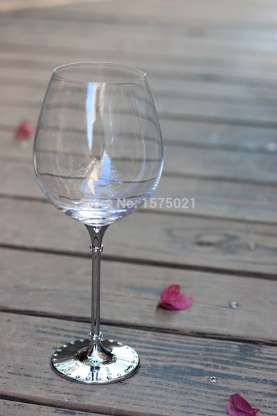 hot sale clear crystal 633ml drinking wine glass with metal stem