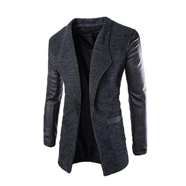 Wholesale-Gresanhevic New Mens Winter Leather Sleeves Lapel Collar Trench Coat Outwear