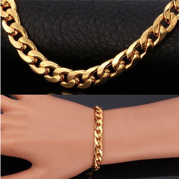 ganzes sale2018 modisches Gold füllte Armband für Männer Edelstahlarmband der Männer einzigartige Goldfarbschwere Armband für Schmucksachen