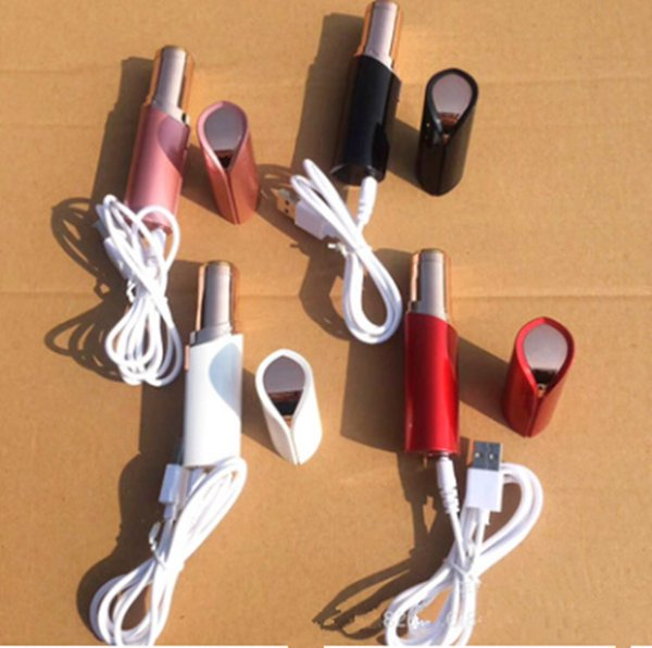 Dropshipping USB Lápiz labial recargable Removedor de vello facial Rojo Mini Portátil Depiladora 18 K Chapado en oro Mujeres Sin dolor Depilación