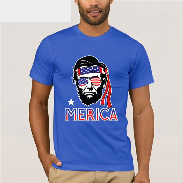 Merica Funny Abe Lincoln 4th of July Hip American T-shirt summer dress T-shirt