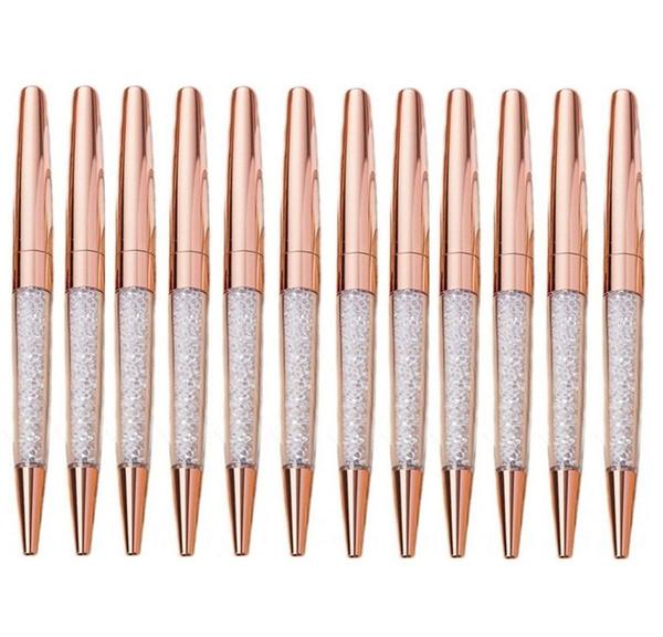 10 Unids / lote Pluma de Oro Rosa Plumas de Diamantes de Bling Fina Tinta Negro Cristal Bolígrafo Anillo de la Boda Oficina de Metal Roller Ball Regalo
