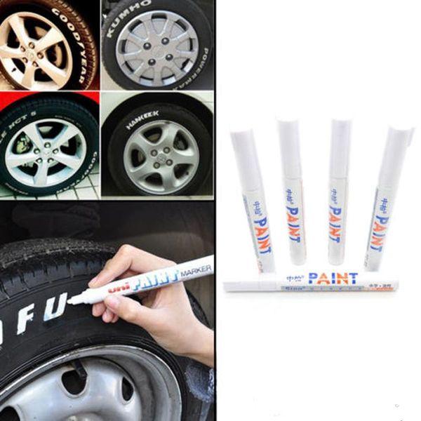 Car Permanent Marker Tire Pen Motorcycle Bike Wheel Universal Graffiti Pen Fast Drying Ink Waterproof White Permanent Markings Box 2236