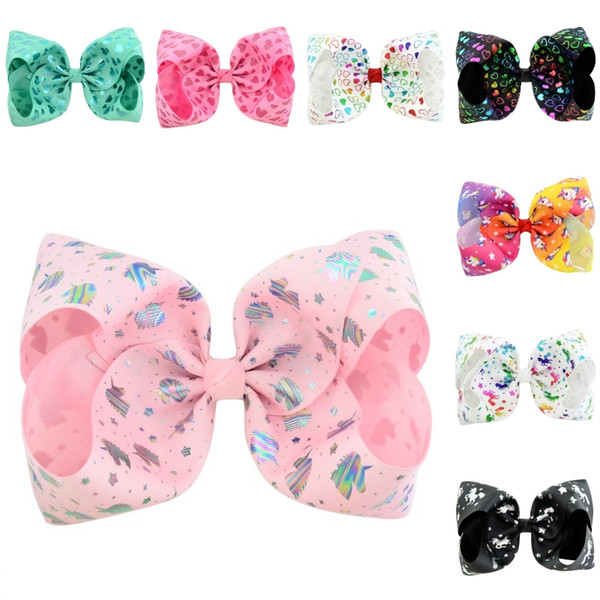 Free DHL 8 Style Boutique Bow Hair Clips JOJO Unicorn Bowknot Hairpin for Girls Toddlers Kids Children Barrettes Cute Hair Accessories H940F