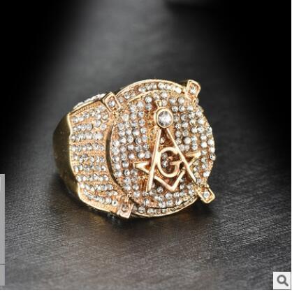 Anneau maçonnique de luxe en cuivre AG lettre sculptée Vintage Punk Biker anneaux gratuit Mason franc-maçon bijoux hommes en or
