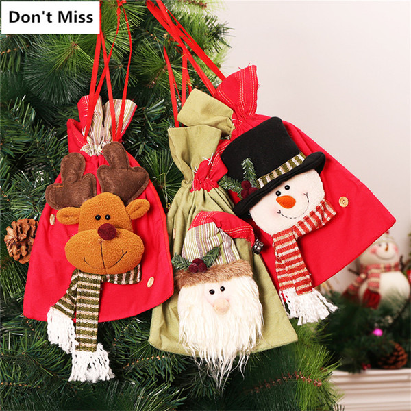 Christmas Gift Candy Bags Xmas Decoration 3pcs/lot Santa Claus+Snowman+Elk Storage Bag Christmas Tree Hanging Ornaments Stocking
