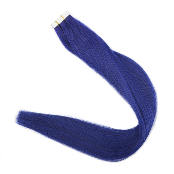 Color #Blue 2.5g/pc 20pcs 40pcs/Package Skin Weft Tape in Remy Human Hair Extensions Fashion Glue on Hair Tape Ins