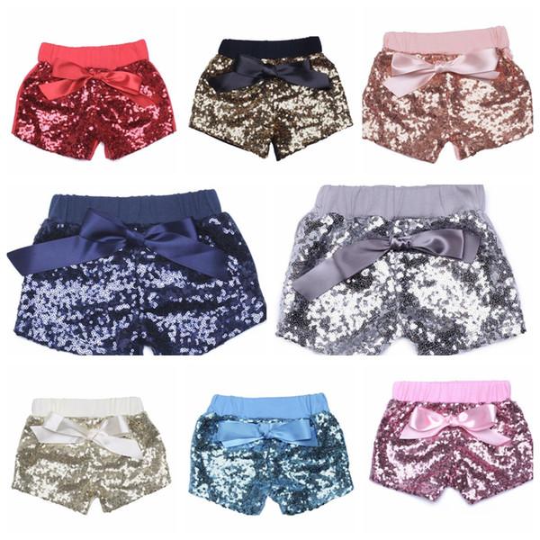 Toddler baby sequins shorts for summer girls bowknot short pants kids boutique shorts Bling bling Sports Shorts 14 color KKA1179