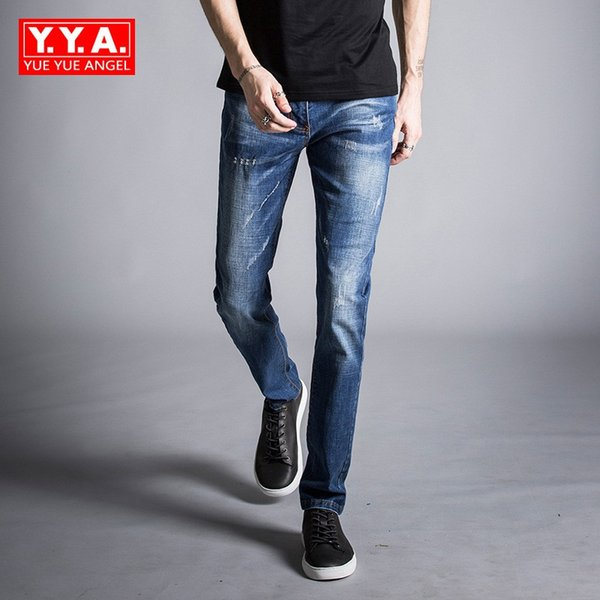 Mens Fashion Jeans Business Casual Stretch Jeans 2019 Spring Skinny Denim Pants Trousers Male