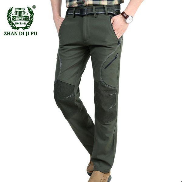 2018 Männer Winter warme Fleece Armee grün gerade Hosen Mann afs Casual Marke schnell trocken graue Hose winddichte schwarze Hose
