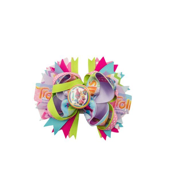 """Adogirl 5"""" Cartoon Paster Applique Hair Bows for Girls Children Hairgrips Handmade Boutique Hair Accessories Kids Clips"""