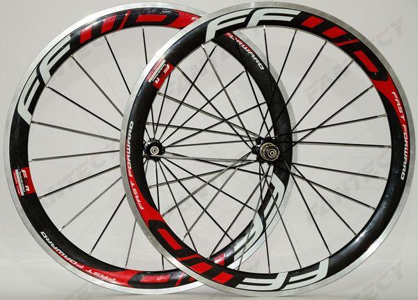 FFWD! 700C alloy brake surface carbon wheels 50mm depth road bike wheelset 23mm width Clincher alloy rim 3k Glossy finish U- shaep rim
