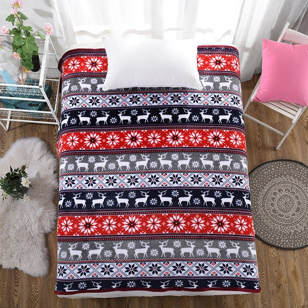 Christmas Blankets.Drop Fashion Christmas Blanket Fleece Throw Blankets For Beds Cobertor Super Soft Plaid Bedspread Warm Bed Plush Manta Para Sofa Cream Blanket Throw