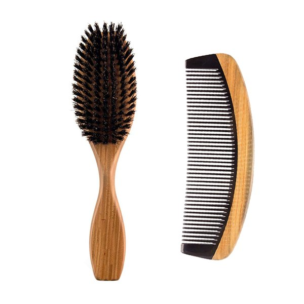 Ox Horn Wooden Handle Comb Boar Bristle Hairbrush Handmade Hair Care Styling Tool Wholesale Supplier Comb over Hair Beard Style Christmas