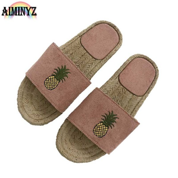 Basic Summer Slippers Beach Leater Shoes Leather Woman Cool Pineapple Flip Flops Women's Shallow Zapatos Mujer Suede Platform