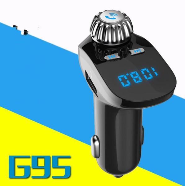 G95 Bluetooth Coche Transmisor FM Modulador de Coche Reproductor de mp3 Inalámbrico Manos Libres Música Audio con interfaz USB Cargador de Coche 2018