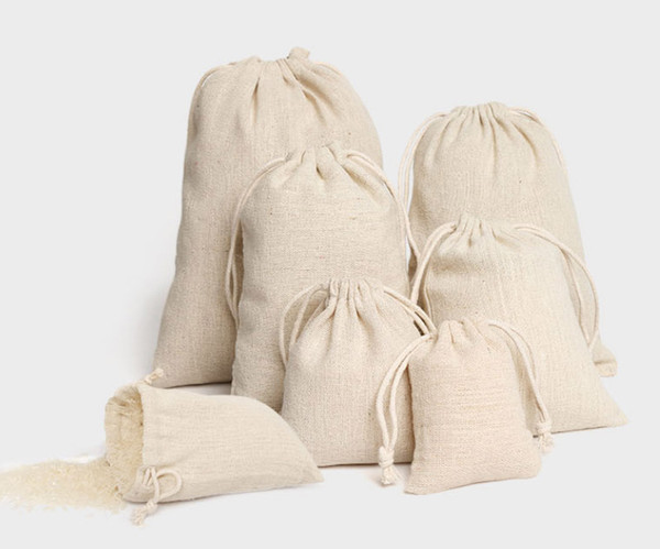 top popular Jewelry Linen Drawstring Pouch 8x10cm 9x12cm 10x15cm 13x17cm 15x20cm 20x30cm Party Candy Favor Sack Cotton Gift Packaging Bag Sack 2020