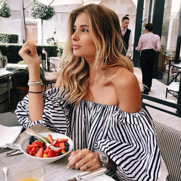 2018 Women Summer Fashion Shirts Sexy Slash Neck Lantern Sleeve Striped Print Chiffon Blouse Free Shipping NZ510