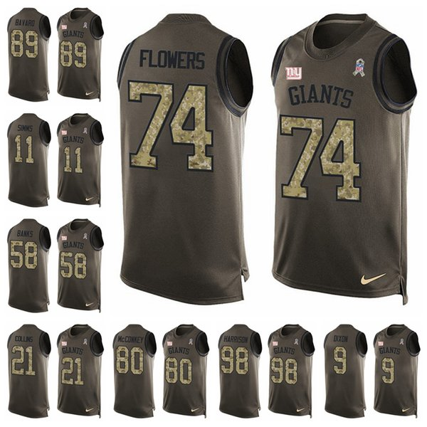 meet 69f41 71126 2019 New York Limited Football Jersey Giants Green Salute To Service Tank  Top 10 Eli Manning 13 Odell Beckham Jr.26 Saquon Barkley 89 From ...