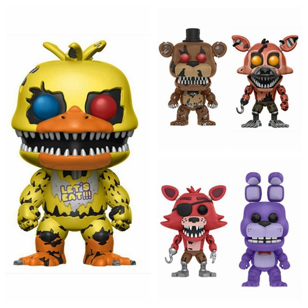 No Box 6pcs/set Anime Games Five Nights At Freddy's Spring Trap Chica FREDDY FAZBEAR Nightmare Foxy The Pirate Figure Toy POP Gift
