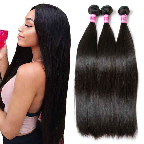 Fasci di tessuto per capelli lisci indiani Fasci di capelli umani non trattati al 100% Un fascio di estensioni di capelli neri con onda naturale 3 o 4 pacchi acquistabili