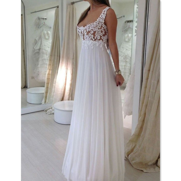 2018 Simple Empire Wedding Dresses Straps Cheap Scoop Neck Lace Summer Beach Pregnant Maternity Bridal Gowns Custom Made