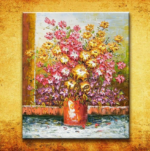 100% handmade palette knife textured flower oil painting sale modern living room art decorative painting for home décor unique gifts Kungfu