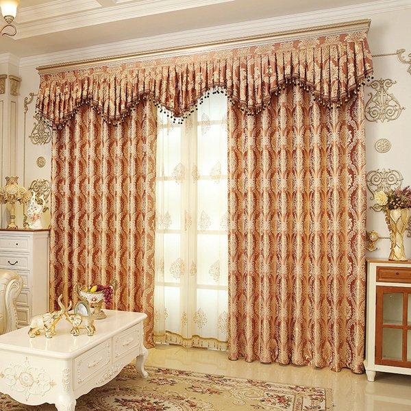 2019 Romantic Royal Luxury Window Curtains Bedroom Living Room Removable Elegant Drapes Curtain Encryption Golden Silk Jacquard Weave 23lg Jj From