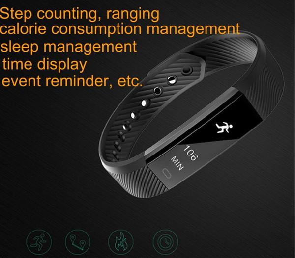 Caliente ID115 Pulseras inteligentes Rastreador de ejercicios Contador de pasos Monitor de actividad Banda Reloj despertador Vibración Monitoreo de ritmo cardíaco Muñequera libre